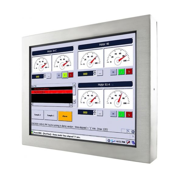 01-Front-right-R19IB3S-65A1 / TL Produkt-Welten / Panel-PC / Chassis Edelstahl (VESA-Mounting) / Touch-Screen für 1-Finger-Bedienung