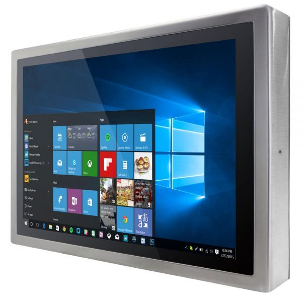 01-Front-right-W22IB3S-SPA3 / TL Produkt-Welten / Panel-PC / Chassis Edelstahl (VESA-Mounting) / Multitouch-Screen, projiziert-kapazitiv (PCAP)
