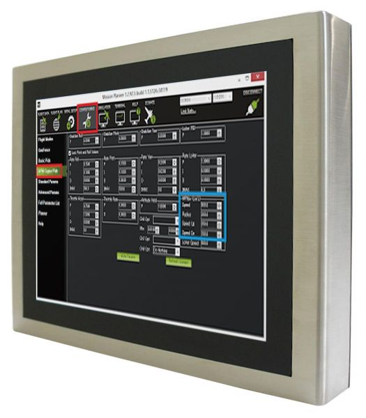 01-Front-right-R10IB3S-SPT2 / TL Produkt-Welten / Panel-PC / Chassis Edelstahl (VESA-Mounting) / Multitouch-Screen, projiziert-kapazitiv (PCAP)