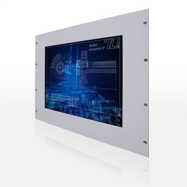01-Front-left-WM12-6HE / TL Produkt-Welten / Industriemonitor / 19-Zoll Rack Mount / Touch-Screen für 1-Finger-Bedienung